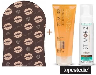 St Moriz Exfoliating Skin Primer + Fast Tanning Mousse + Tanning Applicator Mitt ZESTAW Peeling przygotowujący skórę do opalania 200ml + Błyskawiczny mus samoopalający 200ml + Rękawica