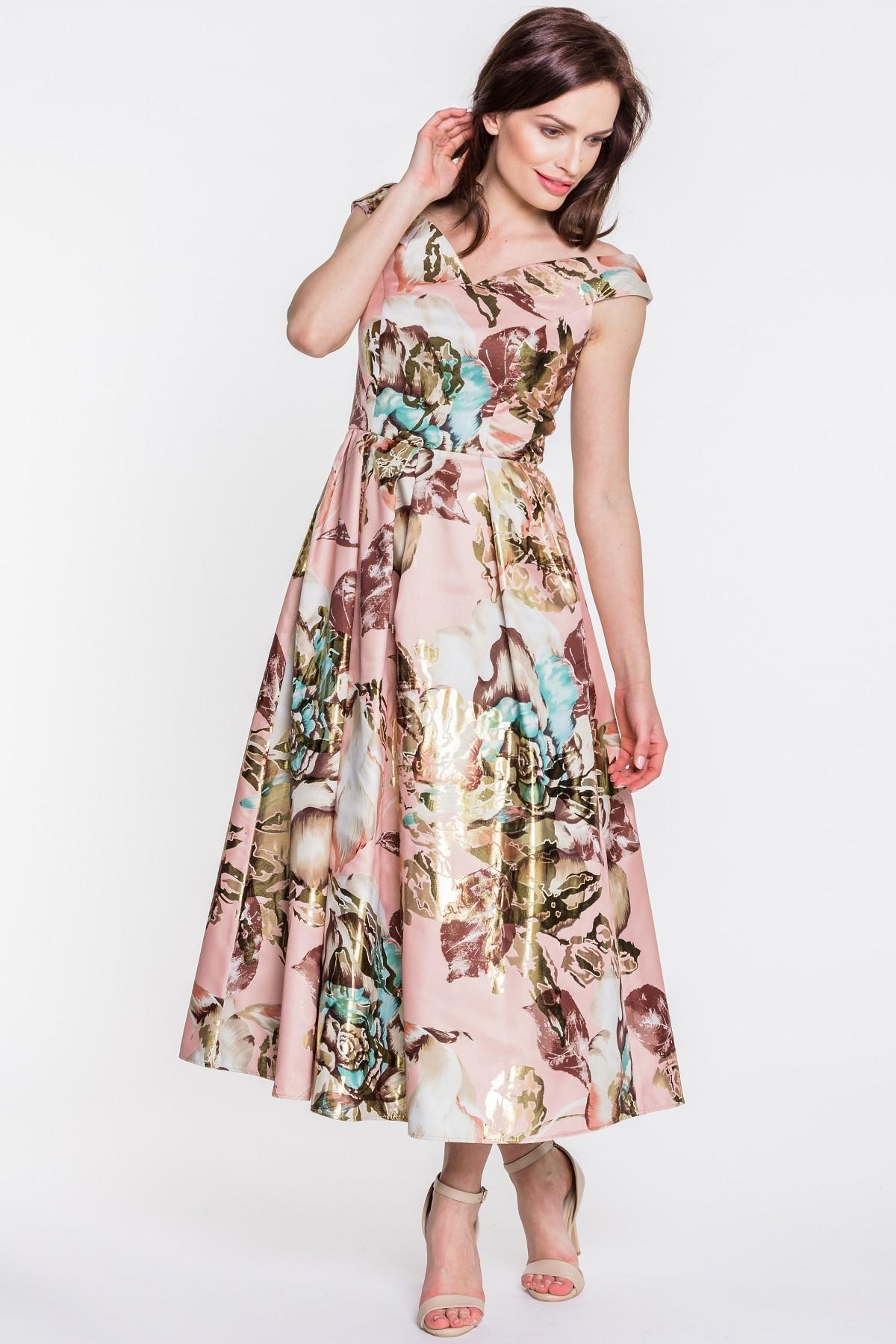 Studio Mody Francoise Beżowa sukienka w kwiaty