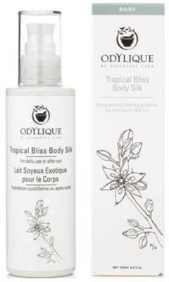 Essential care Odylique Odylique by Tropical Bliss jedwabisty organiczny balsam do ciała z aloesem, masłem kokosowym i kakaowym, awokado, nagietkiem, rokitnikiem, wanilią, bergamotką i ylang ylang 200ml