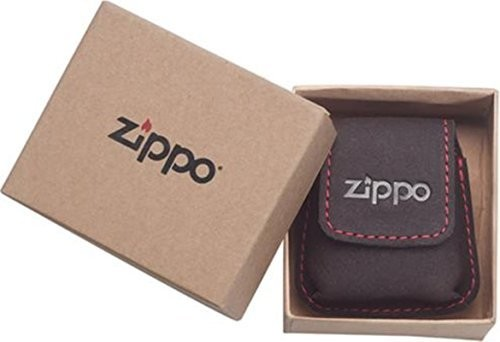 Zippo zapalniczka-etui skóra Mocca/szlufka/ścieg stębnowy Czerwony/etui na prezent 2005425