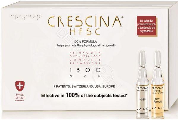LABO COSPROPROPHAR Crescina Hfsc 100% Complete Treatment i Anti-Hair Loss 1300 zaawansowana faza przerzedzenia włosów dla mężczyzn x 10+10 amp produkt dostępny na zamówienie czas oczekiwania 3-5 dni roboczych | DAR