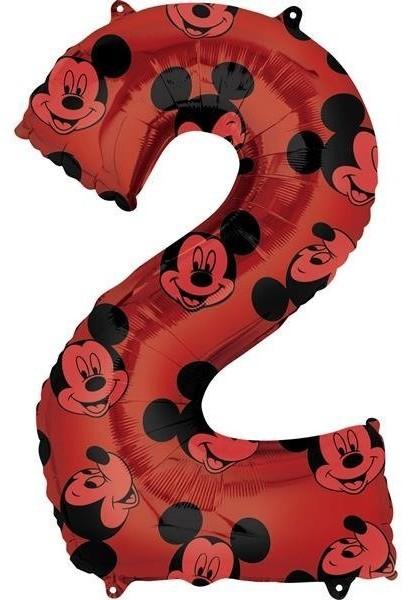 Amscan Balon foliowy, Myszka Mickey, cyfra 2, czerwony, 1 sztuka