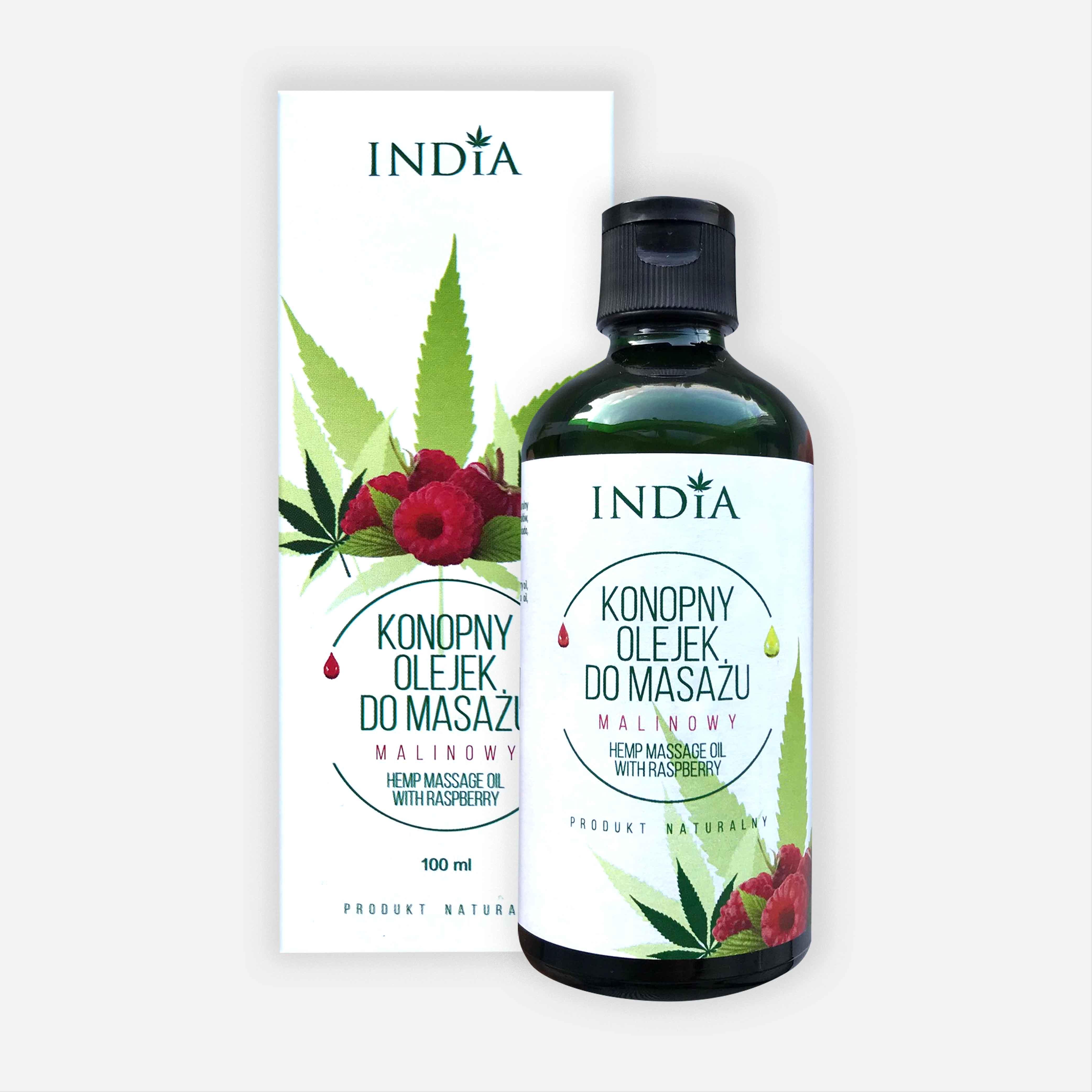 INDIA COSMETICS Olejek do masażu malinowy 100mil