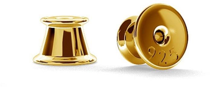 GIORRE SILIKONOWE ZAPIĘCIA, ZATYCZKI DO KOLCZYKÓW SREBRO 925 : Pokrycie Żółtym 24K Złotem