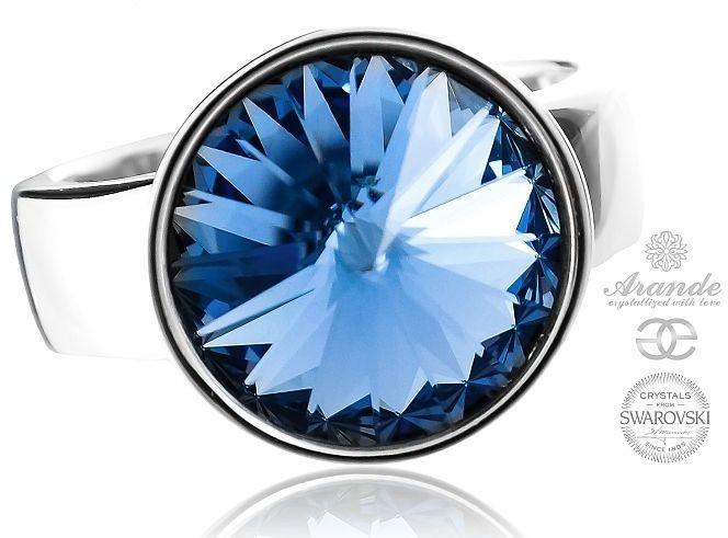 Swarovski Arande piękny pierścionek szafirowy PARIS LIGHT SAPPHIRE SREBRO 700697