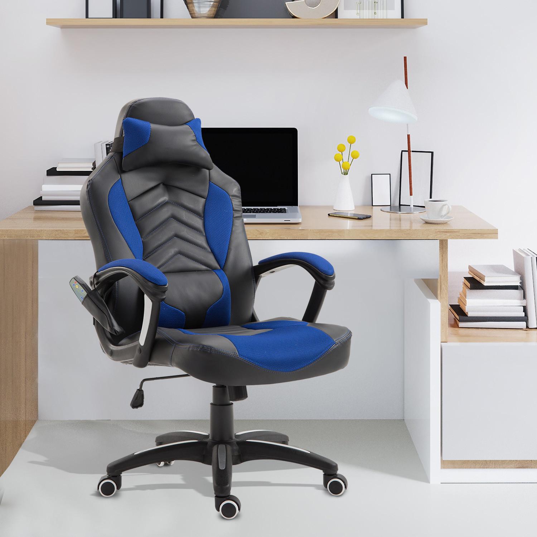 Homcom Fotel gamingowy ergonomiczny z masażem niebieski