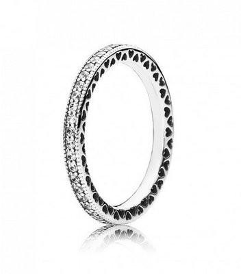 Pandora Damski pierścionek  ze srebra próby 925 z przejrzystymi cyrkoniami, wzór: nieskończone serca, 190963CZ, srebro, srebro 190963CZ-58