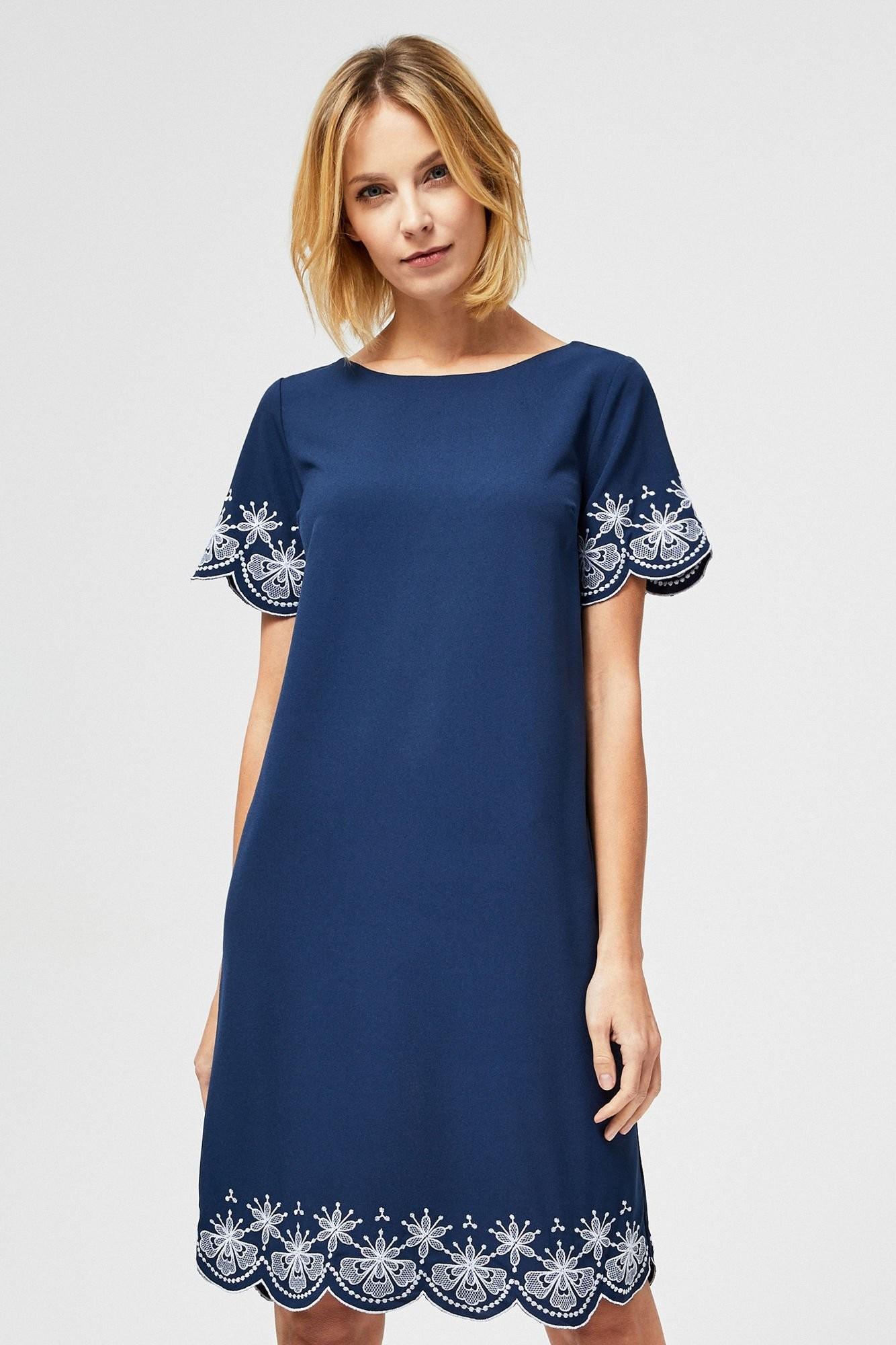 Moodo Sukienka z haftem L-SU-2852 NAVY; XS