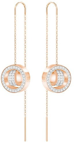 Swarovski Hollow Chain Pierced Earrings, White, Rose Gold Plating White Rose gold-plated
