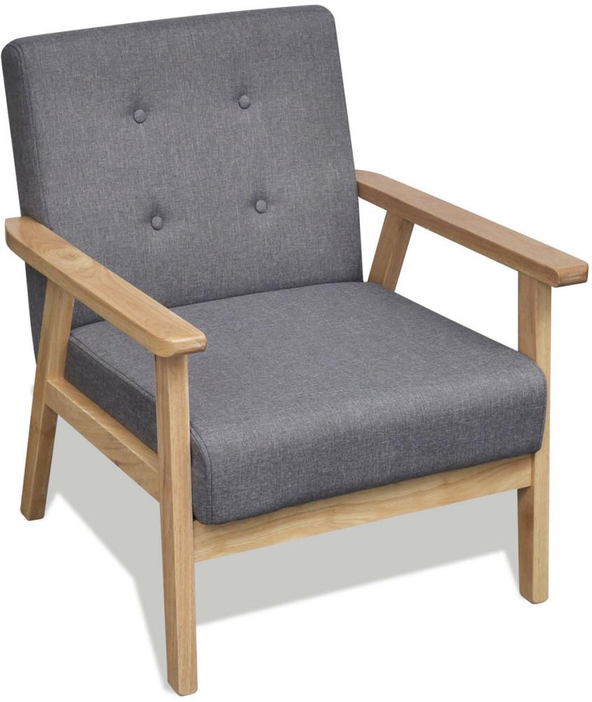 vidaXL Szary fotel retro z drewnianą ramą