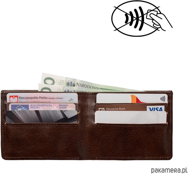 RFID Skórzany męski portfel SLIM z blokadą