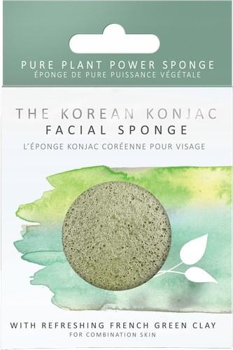 Gąbka do twarzy Premium z zieloną glinką - Konjac