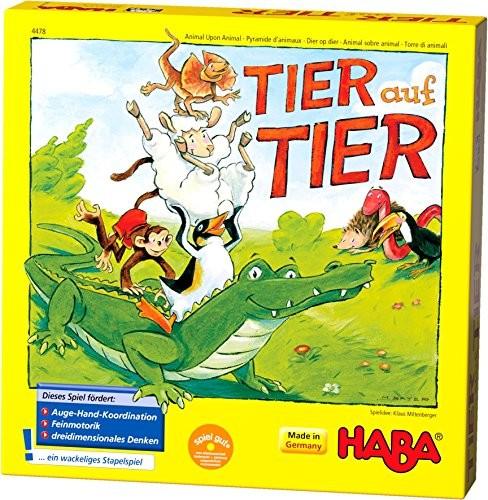 Haba HABA 4478zwierzątko na stos, gra dla 24graczy w wieku 4lat, z figurki zwierząt z drewna, spielbar również jako Solo 4478