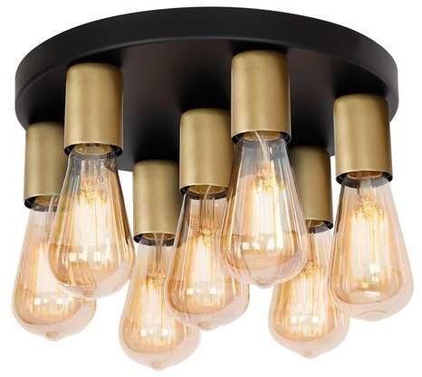 Luminex Filo 1308 plafon lampa sufitowa 7x60W E27 czarny / złoty
