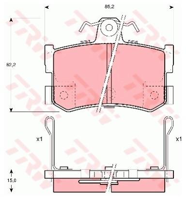 TRW Zestaw klocków hamulcowych, hamulce tarczowe GDB1169