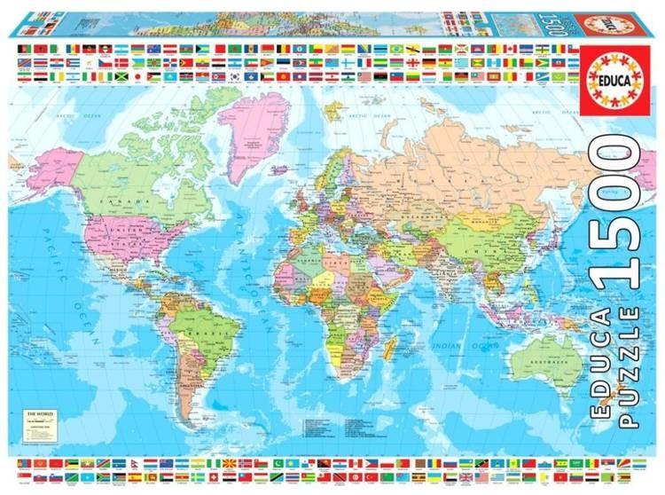 Educa Puzzle 1500 Mapa polityczna świata G3 -