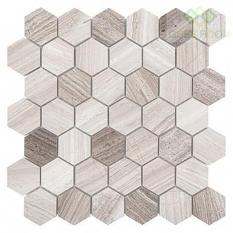 Dunin Mozaika Woodstone Grey Hexagon 48