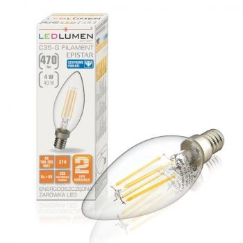 LEDlumen C35-G E14 230V 4W COS CCD 470lm WW 251090029