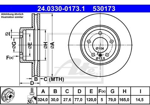 ATE TARCZA HAM POWER DISC 24.0330-0173.1 BMW E60 520D 05-, 520I 03-, 523I 05-, 525D 04-  24.0330-0173.1