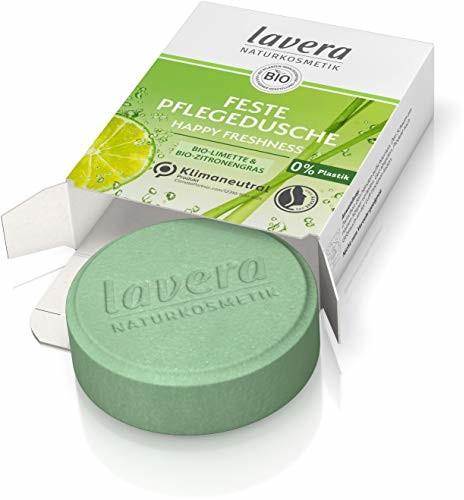 Lavera Feste Pflegedusche Happy Freshness - mit Bio-Limette und Bio-Zitronengras - reinigt die Haut sanft, ohne sie auszutrocknen - 3x ergiebiger als flüssiges Duschgel - Naturkosmetik - 1 Stk / 50g 112765