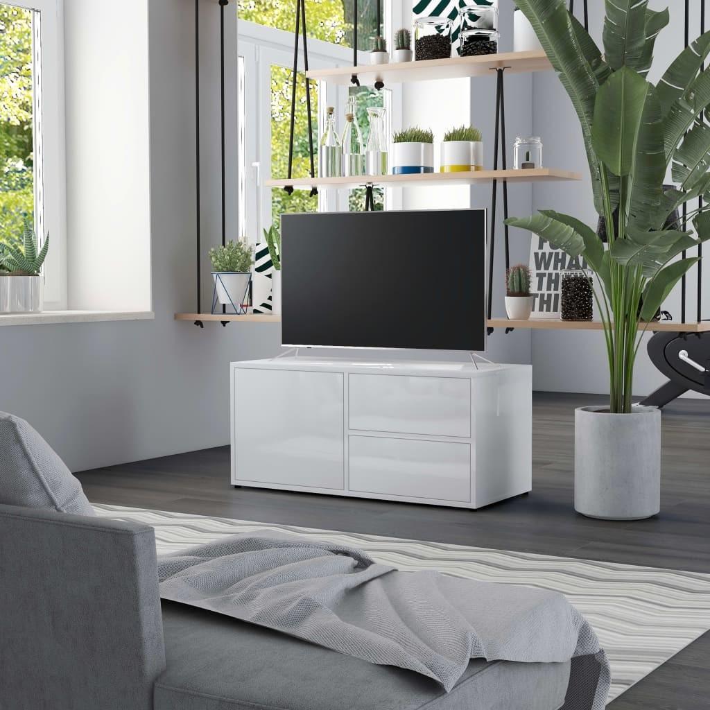 vidaXL Szafka pod TV, biała, wysoki połysk, 80x34x36 cm, płyta wiórowa