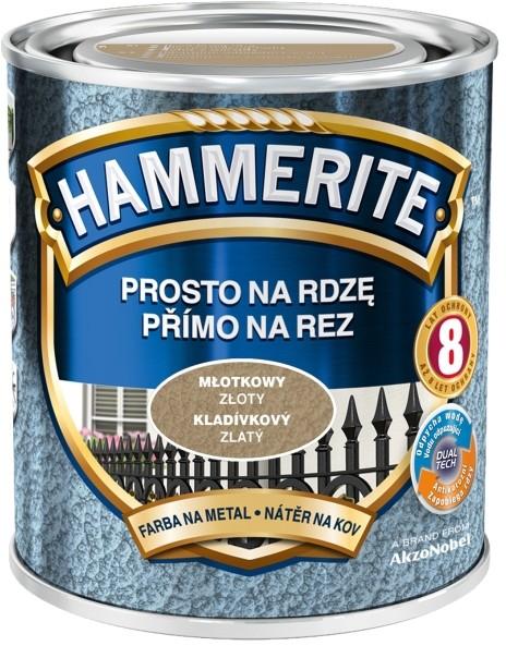 Hammerite Farba do metalu Prosto Na Rdzę młotkowy złoty 0 7 l