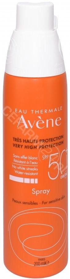 Avene spray z bardzo wysoką ochroną przeciwsłoneczą spf 50+ do skóry wrażliwej 200 ml