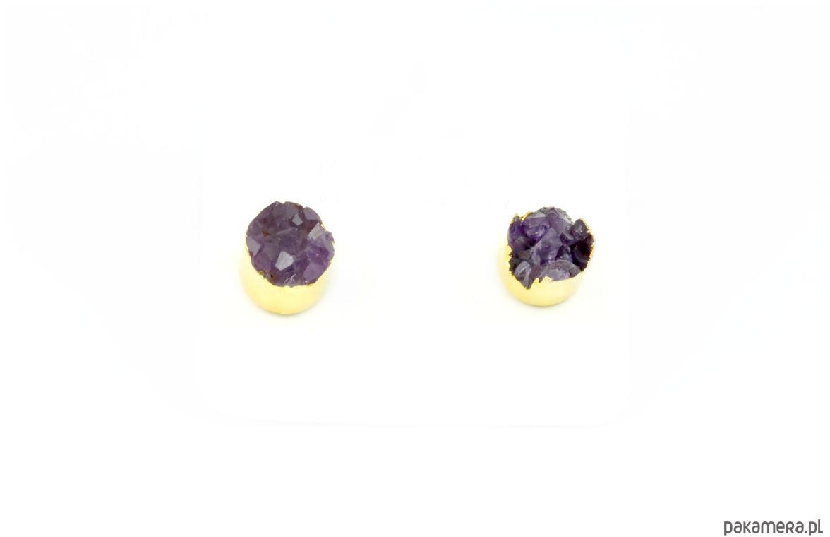 Earrings Druza Ametystu złoto
