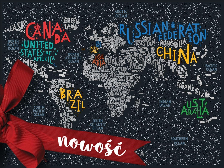 Mapa świata zdrapka Travel Map Letters World 1Dea.me DARMOWA DOSTAWA DO KIOSKU RUCHU OD 24,99ZŁ