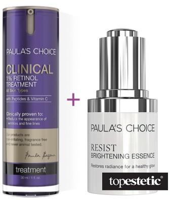 Essence Paulas Choice Paulas Choice Clinical 1% Retinol Treatment + Resist Brightening ZESTAW Kuracja przeciwstarzeniowa 1% retinolu 30 ml + Emulsja rozjaśniająca przebarwienia 30 ml