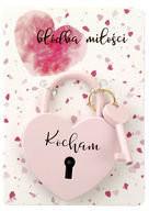 Kłódka miłości różowa z hasłem Kocham