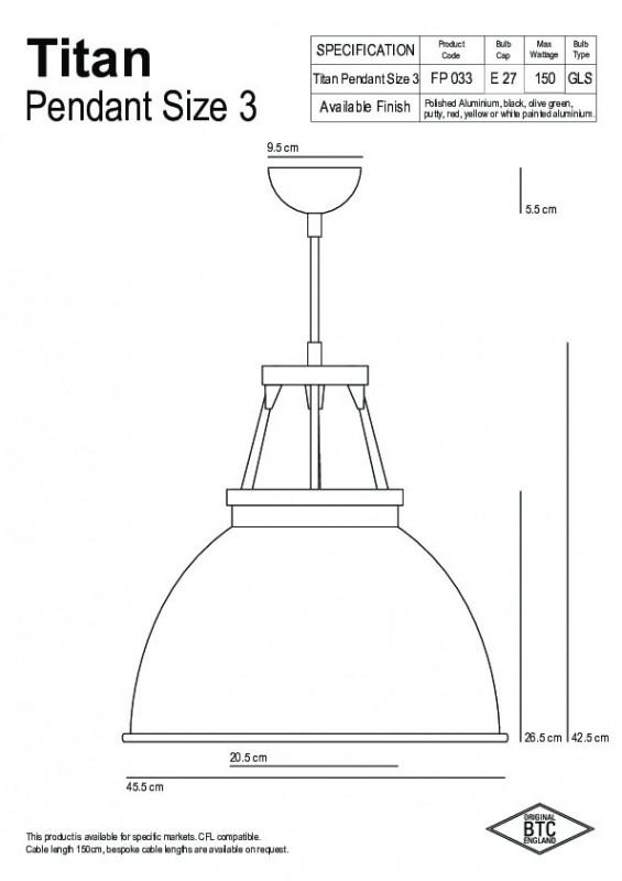 Original BTC Original BTC Titan Size 3 Lampa wisząca 42,5x45,5 cm IP20 E27 GLS żółta biała FP033Y/W
