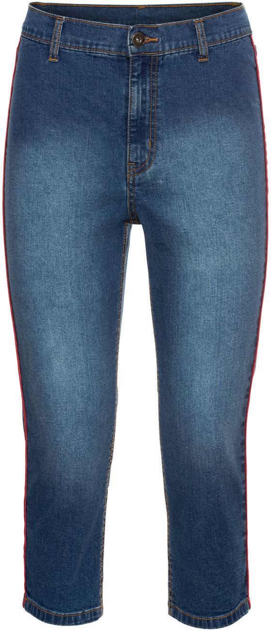 0c2ec26dd Bonprix Rybaczki dżinsowe z czerwonymi paskami niebieski