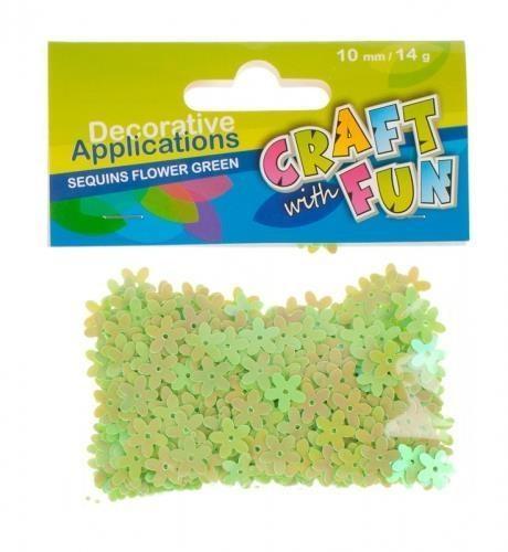 Craft With Fun Cekiny, zielone kwiaty metaliczne 10 mm