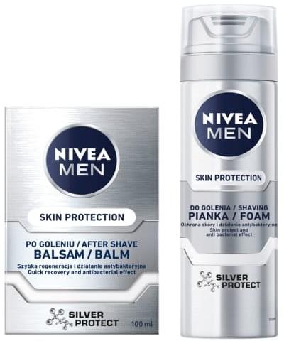 Nivea Men MEN Silver Protect zestaw balsam po goleniu 100ml + pianka do golenia 200ml NIV-00209