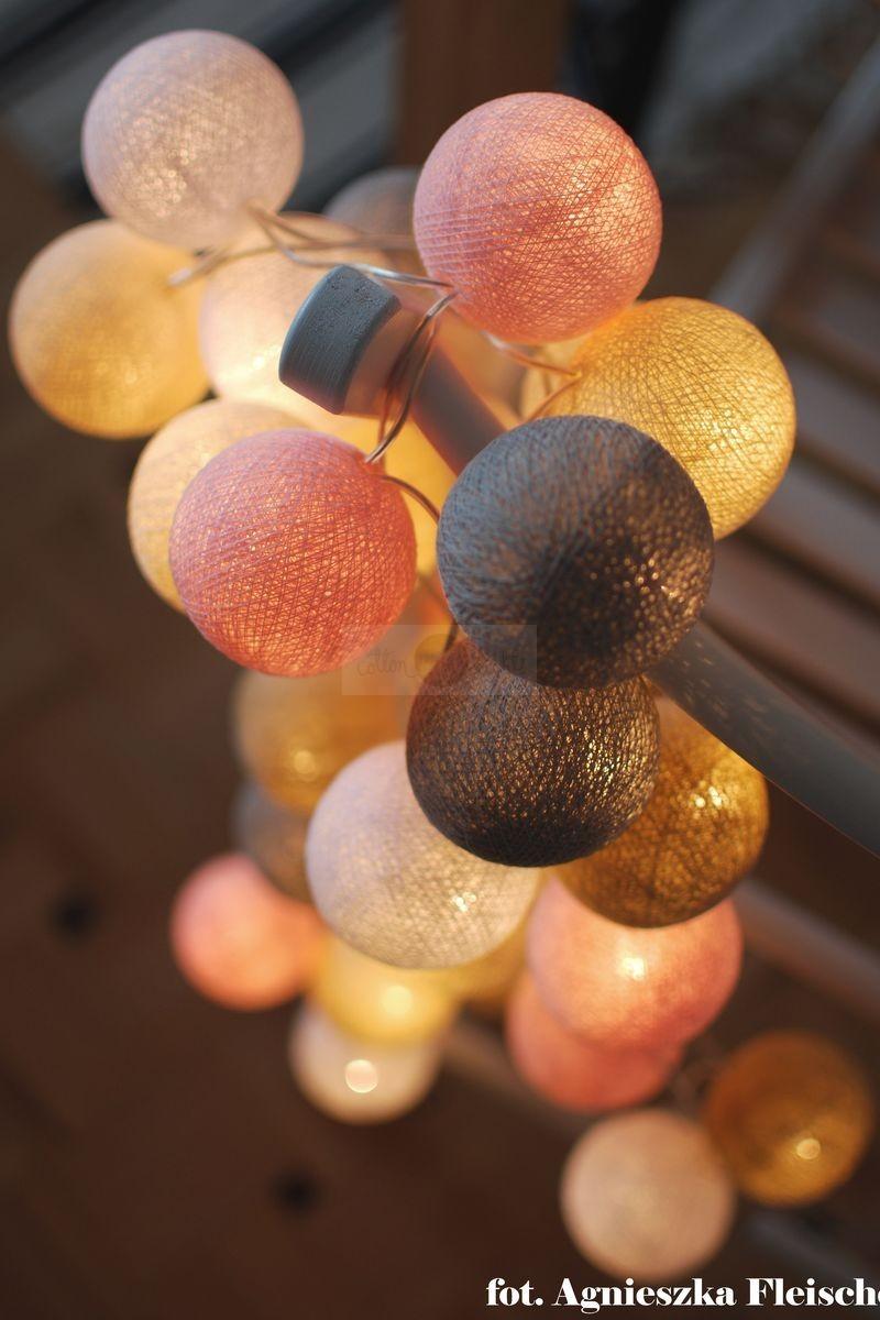 Cotton Ball Lights CottonBallLight Kompozycja kolorowych kul LED Pastels by Pretty Pleasure