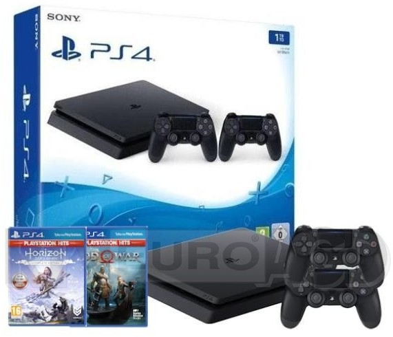 Sony PlayStation 4 Slim 1TB + 2 pady + Horizon Zero Dawn Edycja Kompletna + God of War