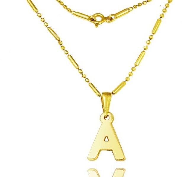 MAK-Biżuteria 1132 naszyjnik z literką, alfabet, dowolny inicjał złoty