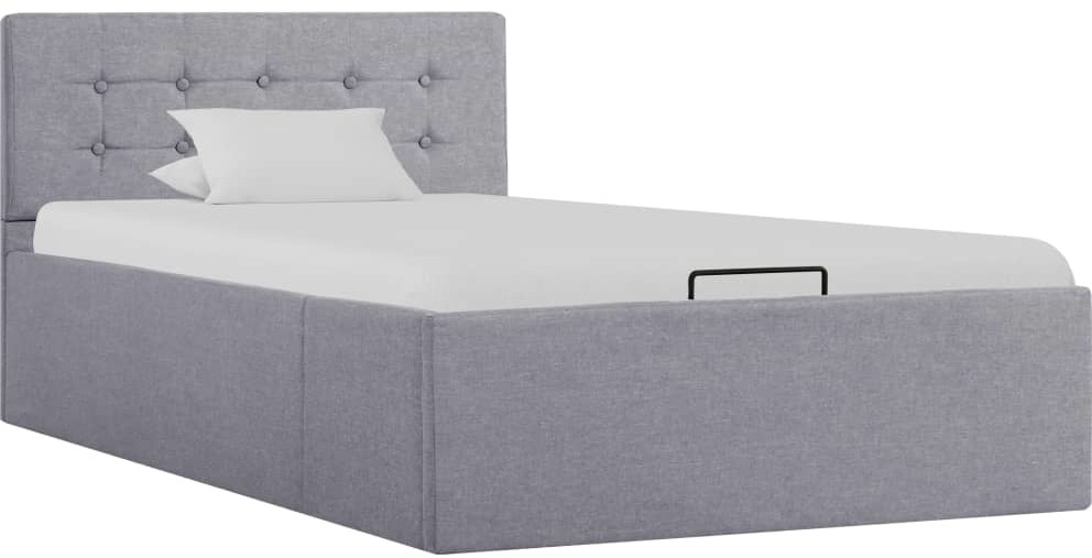 vidaXL Rama łóżka z podnośnikiem, jasnoszara, tkanina, 100 x 200 cm