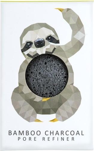 Konjac Sponge Konjac Sponge Gąbka Mini Rainforest Leniwiec z czarnym węglem bambusowym do cery tłustej i problematycznej