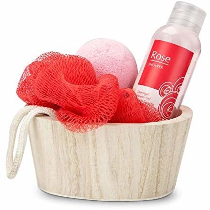 Römer Wellness zestaw upominkowy: Red in Balance, 4-częściowy z drewnianym koszykiem, żel pod prysznic 50 ml, 1 kula do kąpieli + 1 gąbka, zapach: różowy, 200 g