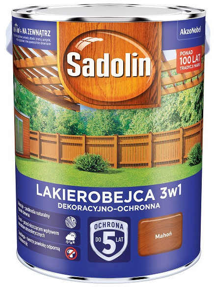 Sadolin Dekoracyjno-ochronna lakierobejca 3w1 5l Mahoń 4511647