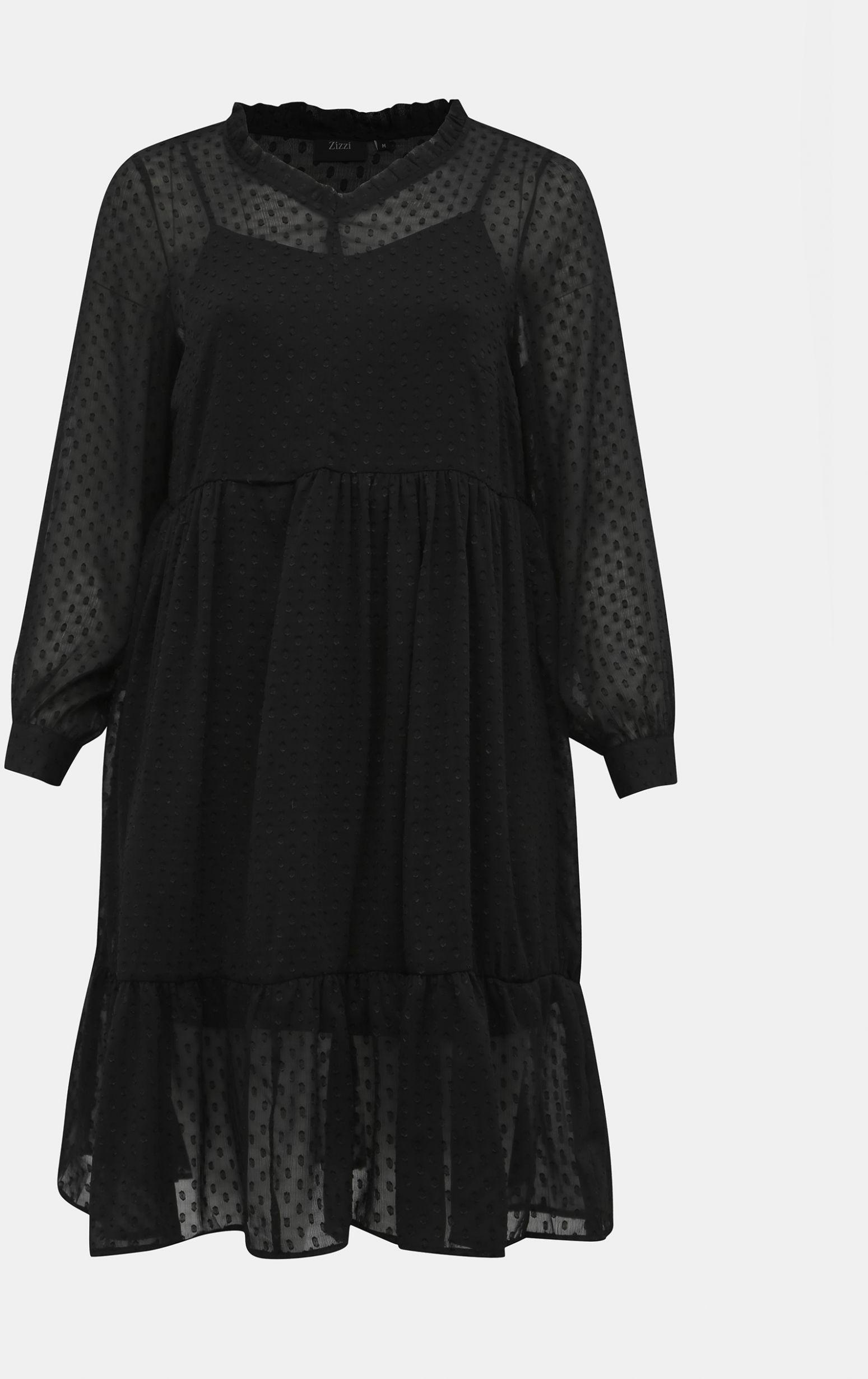 Zizzi czarny sukienka na długi rękaw - XL-XXL Z_7100024669016