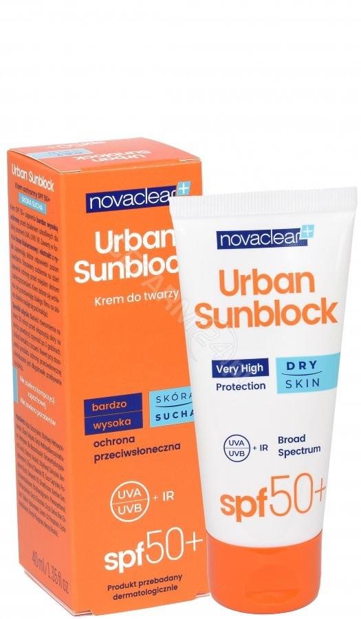 Equalan Novaclear Urban Sunblock krem ochronny do twarzy SPF 50+ skóra sucha 40 ml
