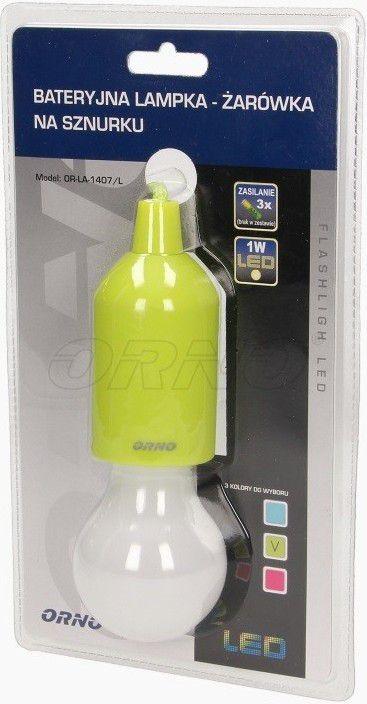 Orno Lampka OR-LA-1407/L Bateryjna lampka nocna LED na sznurku limonkowa LA-1407/L LA-1407/L