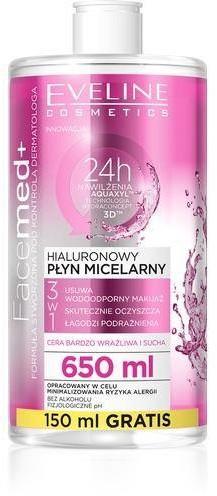 Eveline Cosmetics Facemed+ 3w1 hialuronowy płyn micelarny do cery bardzo wrażliwej i suchej 650ml