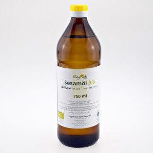 Seyfrieds Organiczny Olej Sezamowy BIO Extra Virgin 750 ml Seyfried - szklana butelka, nierafinowany olej do spożycia i masażu