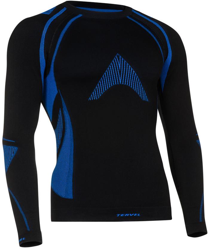 TERVEL OPTILINE MOD-02 męska koszulka termoaktywna z długim rękawem kolor Czarno-niebieski