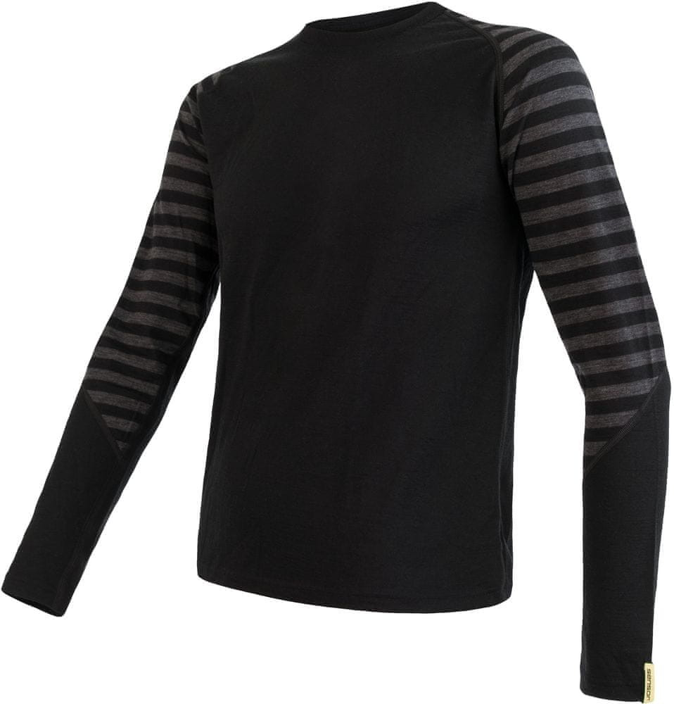 Sensor koszulka męska Merino Active z długim rękawem czarna/ciemnoszara paski XL