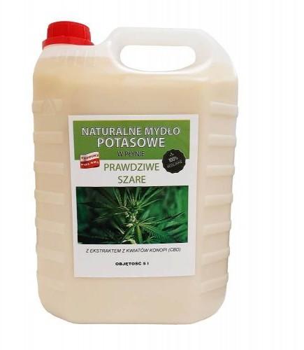 Mydlarnia Mydło potasowe Prawdziwe szare z ekstraktem z kwiatów konopii CBD w płynie 5l